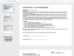 Cell City Project - You are the Designer! Worksheet for 6th - 8th ...