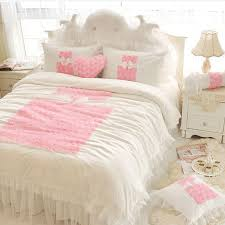 korean princess bedding sets white ruffles bedspread lace rose flower duvet cover queen king bed skirt bedclothes cotton nursery bedding duvet covers king