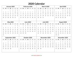 Calendars 2020 Free Calendar Template 2020 One Page Calendar Printable