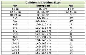 Toddler Girl Size Chart Childrens Clothing Size Conversion Chart Kids Size Chart
