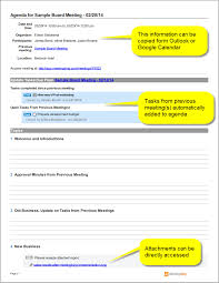 Agenda Outlines Templates Sample Board Meeting Agenda Template