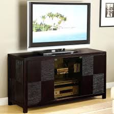 contemporary modern tv stand console table with storage and sliding door painted with dark brown color