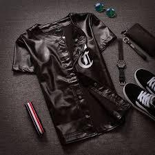 new men s fashion hip hop leather tee shirt short sleeve cool black baseball jersey jacket for