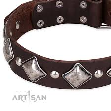 snugly fitted leather dog collar with extra strong rust proof hardware