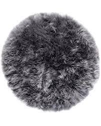 new zealand sheepskin rug round grey