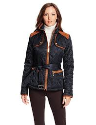 Vince Camuto Women's Quilted Barn Jacket at Amazon Women's Coats Shop & Vince Camuto Women's Quilted Barn Jacket, Navy/Rust, X-Small Adamdwight.com