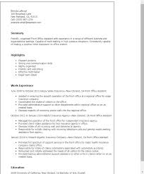 Resume Templates: Front Office Assistant