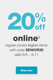 3 regular d eligible items with code senior20 valid