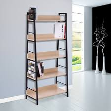 homcom wood bookcase 5 tier wide bookshelf shelving storage furniture home oak black aosom ca