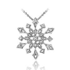 925 silver diamond accent snowflake necklace 3 colors