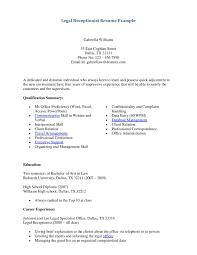 Resume Objective Examples For Dentaleceptionist Cover Letter Legal