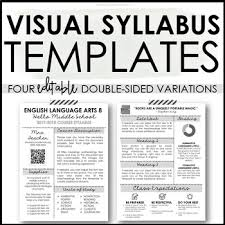 Visual Syllabus Template Pack 2 Creative Editable By