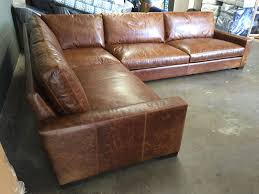 braxton raf leather l sectional sofa with custom length in brompton classic vintage