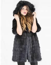46 black long hooded marmot fur coat pelliccia marmotta murmeltierfell сурка мех 01