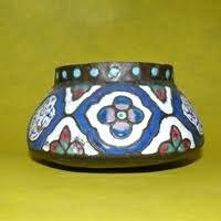 Image result for islamic enamel on copper bowl with metal foot