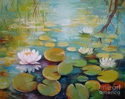 lily painting water lilies on the pond by elena oleniuc