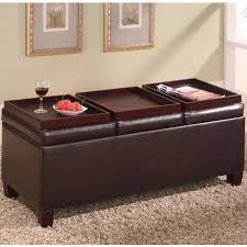 faux leather ottoman. Coaster Faux Leather Storage Ottoman With Reversible Trays