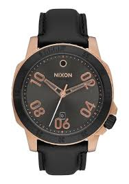 nixon mens analog black dial leather strap sport the ranger watch new nixon a5082308 ranger leather rose gold gunmetal sunray men s watch nib