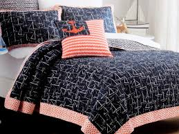 com max studio 4pc nautical bedding set includes sailboat quilt shams and decortive anchor feather pillow in navy blue red and white coastal