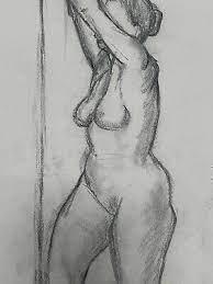 Vintage 1950s Art Charcoal Sketch FEMALE NUDE Life Drawing Geraldine Maloney  | eBay