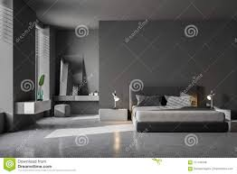 Concrete Floor Bedroom Design Luxury Gray Bedroom Interior Stock Illustration