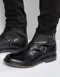 base london zinc leather biker boots