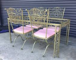 wrought iron vintage patio furniture. vintage russell woodard wrought iron patio table with four chairs furniture t
