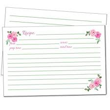 Amazon Com 50 Floral Recipe Cards Pink Rose 4x6 Double Sided