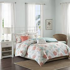 coastal duvet covers. Simple Coastal Madison Park Pebble Beach Duvet Cover FullQueen Size  Coral Teal  Seashell Set 6 Piece Cotton Light Weight Bed Comforter Covers With Coastal H