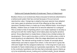 outline and evaluate bowlby s theory of attachment a level  document image preview