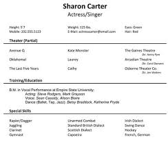 music audition resume example audition resume format