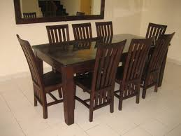 dark brown mission style dining chairs with gray saddle combined rectangle teak wood diningtable glass top added armless