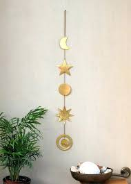 brass wall art brass wall hanging celestial wall decor mobile sun moon phases star planet galaxy