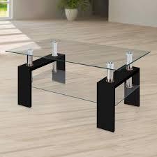 Modern black coffee table Black Oak Pinterest Modern Glass Black Coffee Table With Shelf Contemporary