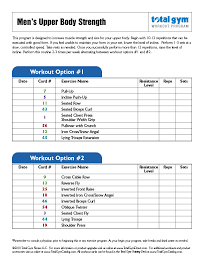Total Gym Workout Chart Pdf Beginner Workout For Men Workout Routines