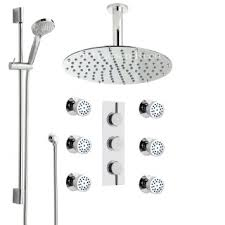 get ations hudson reed chrome thermostatic shower system with triple divertor valve 12 rainfall ceiling head