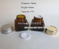 12cs15g amber glass jar with aluminum lids 15g glass container cosmetic packaging 15g glass cream jar vintage perfume bottles whole whole decorative