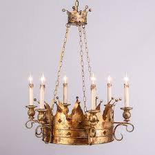 antique gold ceiling pendant noble crown candle style
