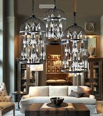 decoration country retro iron cage crystal chandelier light pendant lamps wrought birdcage ceiling industrial lighting