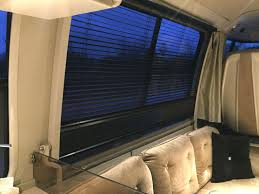upgrades rv gmc motorhome valences and wooden blinds on driver side and pit curtains and