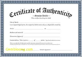 Certificate Of Authenticity Template Awesome Certificates