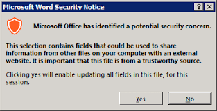 Microsoft Word Update All Fields Microsoft Office Has Identified A Potential Security Concern