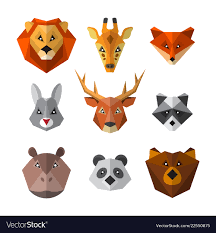 Animal Icon Set Of Wild Animals In Low Poly Style Animal Icon