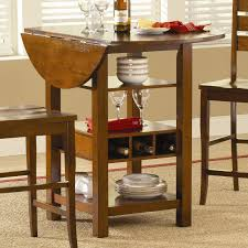 round counter height drop leaf dining table with storage underneath for small space excellent designs