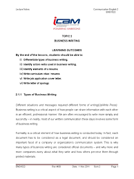Topic 2 Business Writing Resume Communication