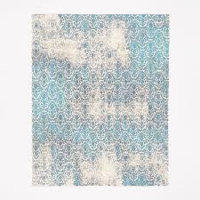 distressed damask wool rug blue lagoon west elm