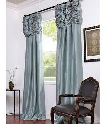 get robins egg embroidered ruched faux silk taffeta curtains ds for window treatments