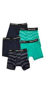 Fruit Of The Loom Boxers Size Chart Fruit Of The Loom Boys 5 Pack Boxer Brief Set Green Blue