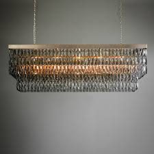 rectangular smoke crystal chandelier with gold
