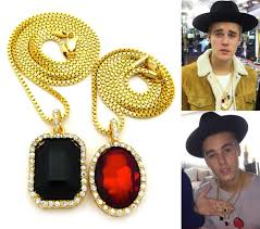 mens iced out hip hop gold red ruby black onyx pendant box chain
